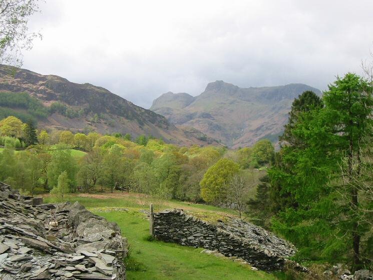 The Langdale Pikes from the Elterwater quarries