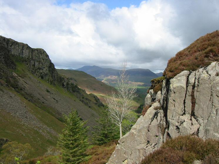 Looking north down Shoulthwaite Gill to the Skiddaw fells