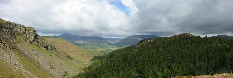 Northerly panorama from the top of Castle Crag Fort