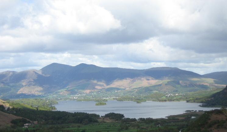 Derwent Water and the Skiddaw fells from Castle Crag's summit
