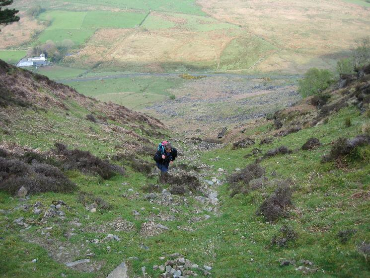 Ascending the gully above Further Gill Sike with Stone Ends Farm below