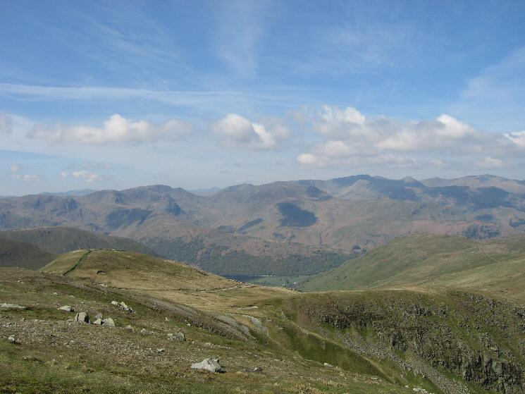 The Knott (near left) with the Fairfield and Helvellyn Fells from Rampsgill Head