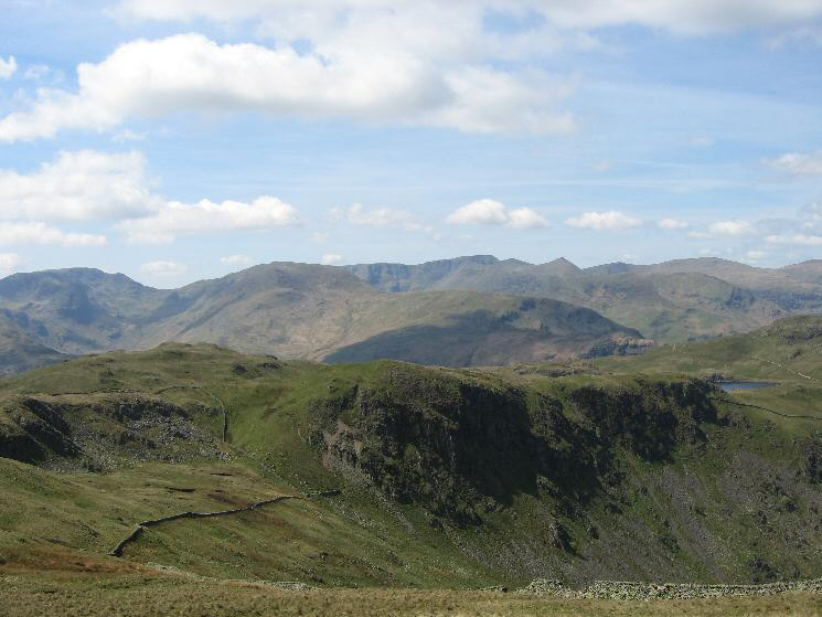Brock Crags, Buck Crag and a glimpse of Angle Tarn