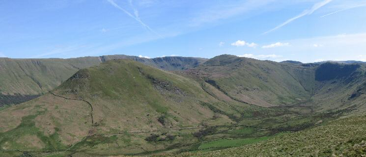 The Nab and Rest Dodd seen across Bannerdale with High Raise and Rampsgill Head behind