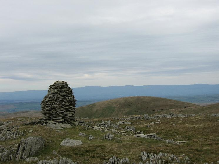 Selside Pike and the Pennines in the distance from the higher cairn on Artlecrag Pike