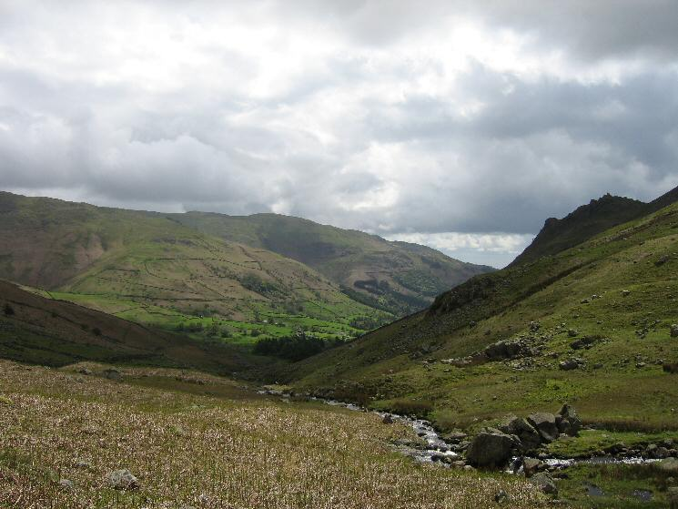 The view back down Green Burn with Helm Crag on the right