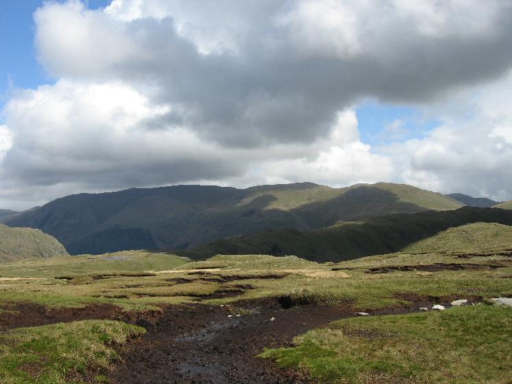 The Helvellyn fells from near Calf Crag's summit