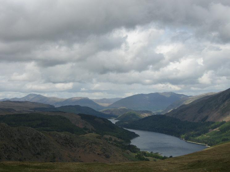 Thirlmere to the north with Skiddaw and Blencathra in the distance from Steel Fell