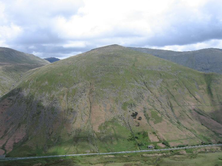 Seat Sandal seen across the A591 as it goes over Dunmail Raise
