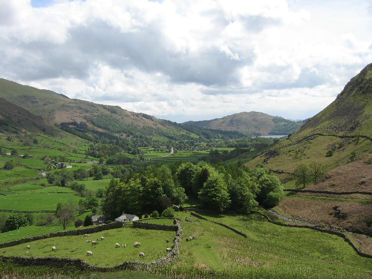 A glimpse of Grasmere with Loughrigg Fell beyond from the bottom of Steel Fell's south east ridge