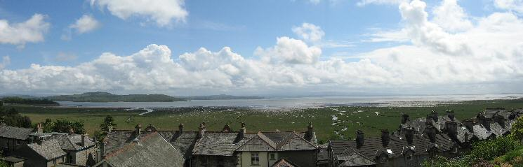 Morecambe Bay over the rooftops of Grange-Over-Sands