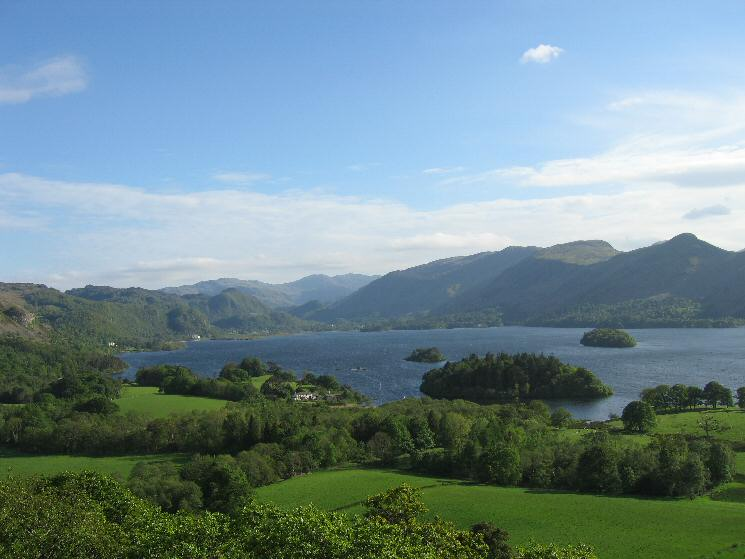 The view up Derwent Water from Castle Head