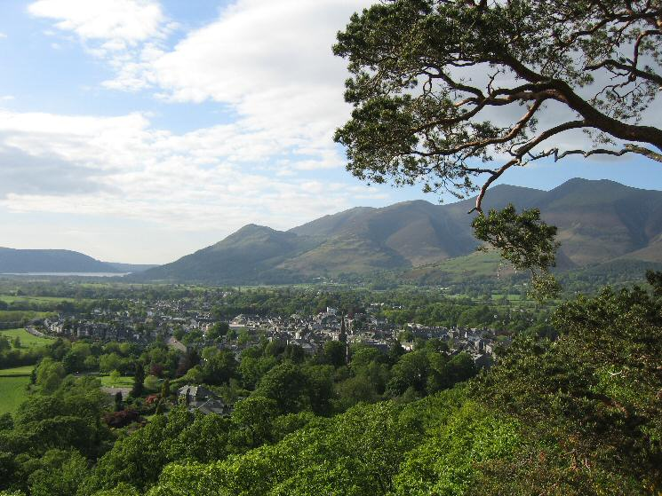 Keswick, the Skiddaw fells and a glimpse of Bassenthwaite Lake from Castle Head