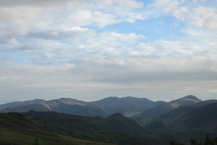 Bowfell, Glaramara, Great End, Scafell Pike, Scafell, Lingmell and Great Gable from Walla Crag