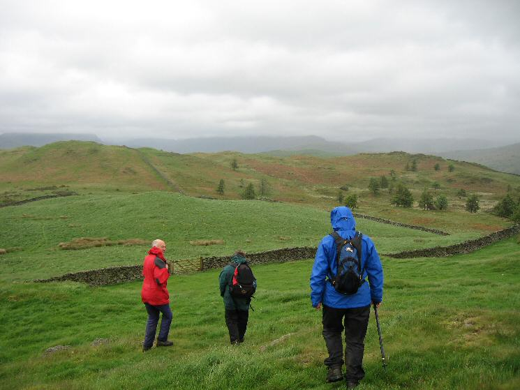 Leaving Reston Scar with Hugill Fell ahead. Wainwright's top is the lower one on the right