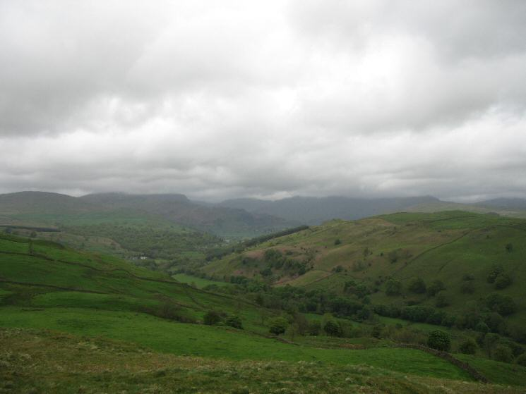 The Kentmere Valley with the tops of the high fells lost in cloud