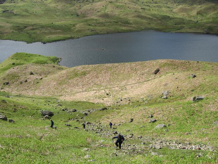 Climbing steeply up onto the ridge from Easedale Tarn
