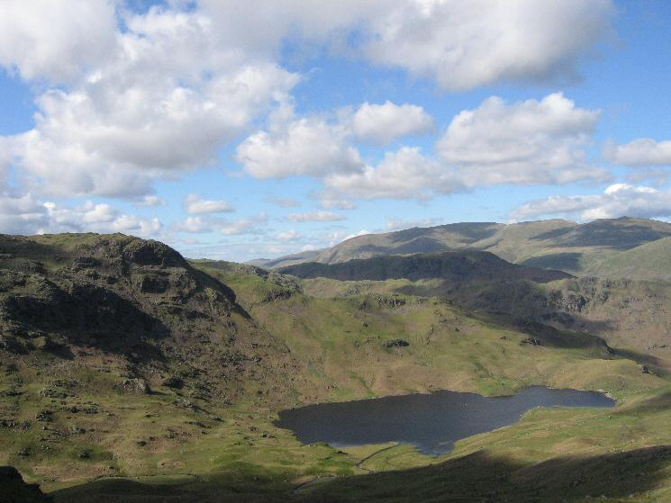 Easedale Tarn with Tarn Crag on the left from Blea Rigg