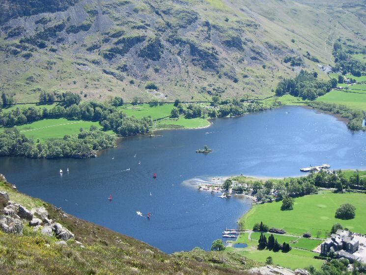 Looking down on the head of Ullswater from Glenridding Dodd