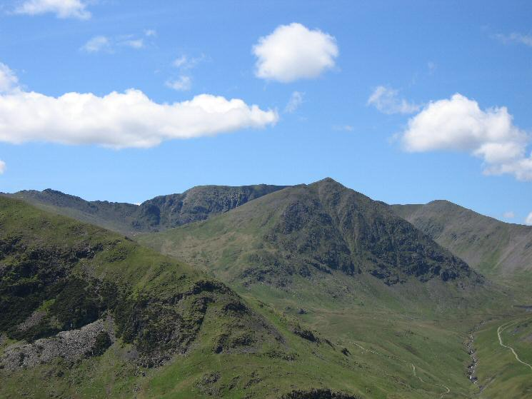 Zooming in on Striding Edge, Helvellyn, Catstycam and Lower Man