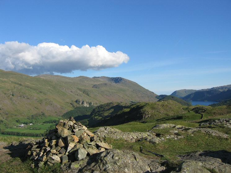 Helvellyn and a glimpse of Thirlmere from High Rigg's summit