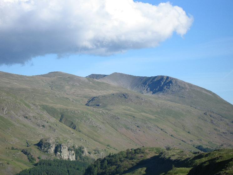 Zooming in on White Side, Helvellyn and Lower Man with Castle Rock of Triermain bottom left