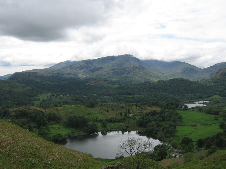 Loughrigg Tarn with Wetherlam behind, just out of the cloud