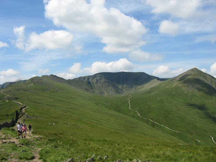 The path to Striding Edge (far left), Helvellyn, the Red Tarn track and Catstycam from Birkhouse Moor's summit