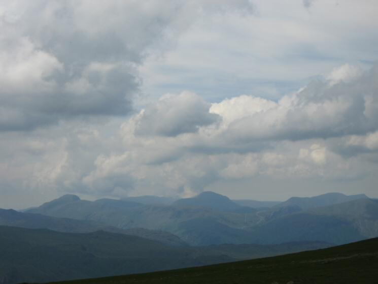 The view west from Helvellyn - Great Gable (left), Pillar (centre) and High Stile (right)