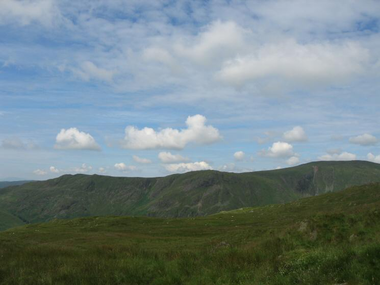 Looking across Longsleddale to Shipman Knotts, Goat Scar and Kentmere Pike from the ascent of Grey Crag