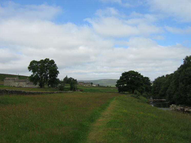 Looking back to Middle Skydes with Low Skydes in the distance as we follow the River South Tyne