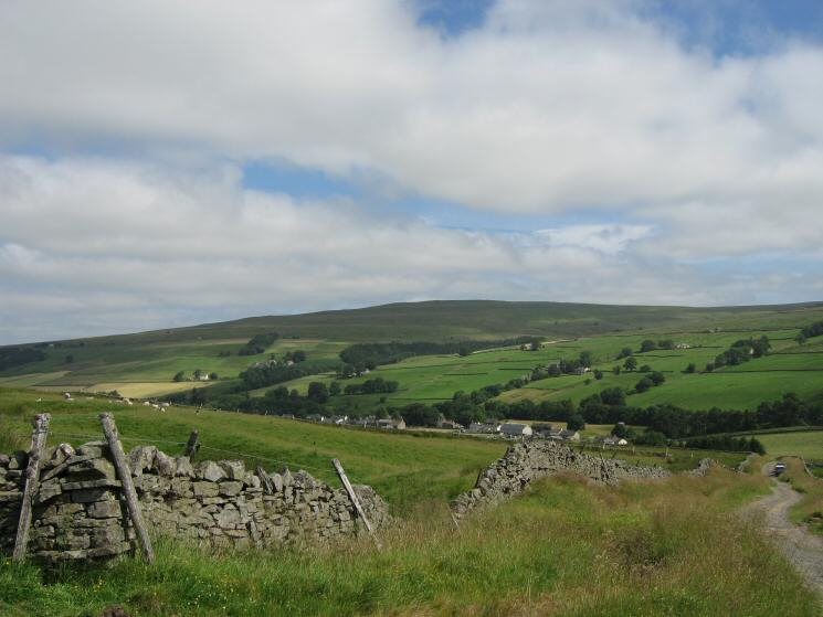 Looking back down on Garrigill from the walled track