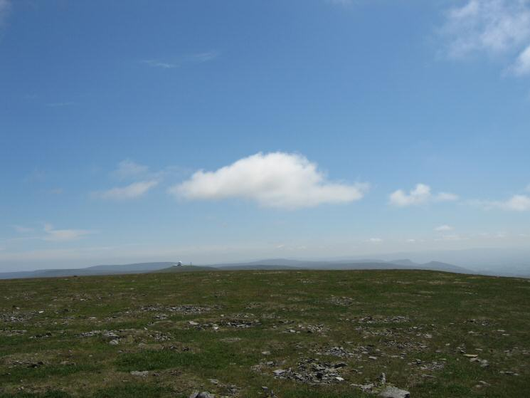 The view south from Cross Fell's summit with the golf ball on Great Dun Fell clearly visible
