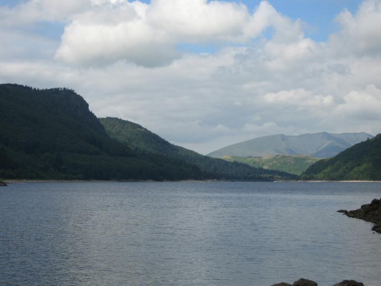 Looking north down Thirlmere towards Blencathra from Deergarth How Island with Raven Crag on the left