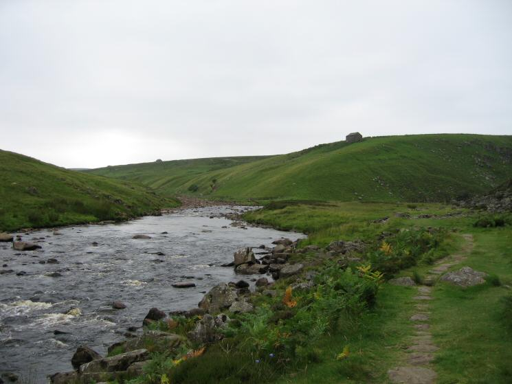 The River Tees flows from the right with Maize Beck joining it on the left