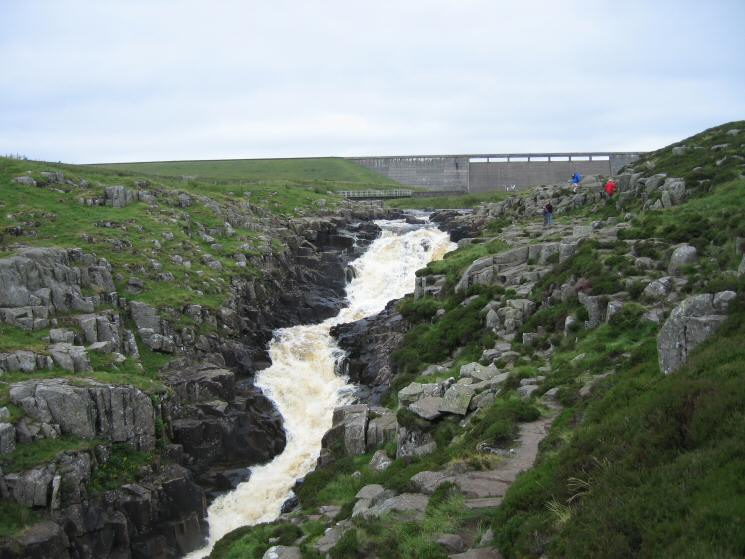 Cow Green Dam and the top part of the falls