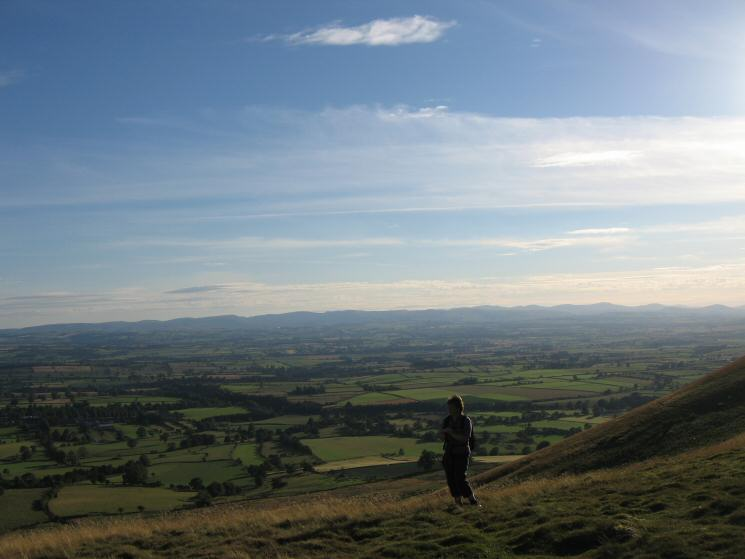 The Lakeland fells seen across the Eden valley from Dufton Pike