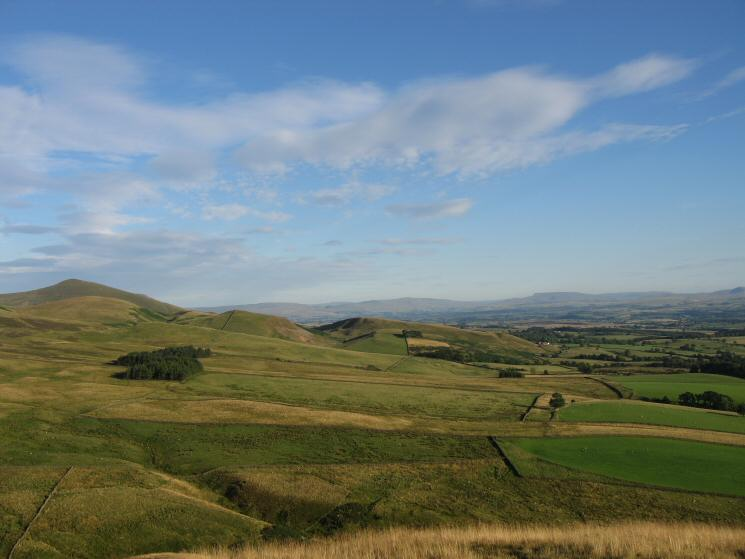Murton Pike on the far left and Wild Boar Fell in th distance (right) from our ascent of Dufton Pike