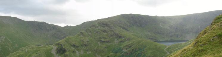 Nan Beild Pass (with Small Water just visible) and Mardale Ill Bell (with Blea Water below)