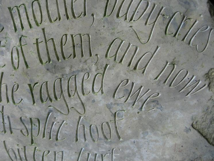 April - close up of the text