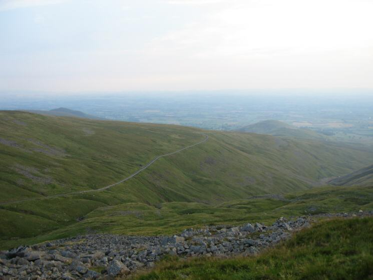 Looking down on the Great Dun Fell road