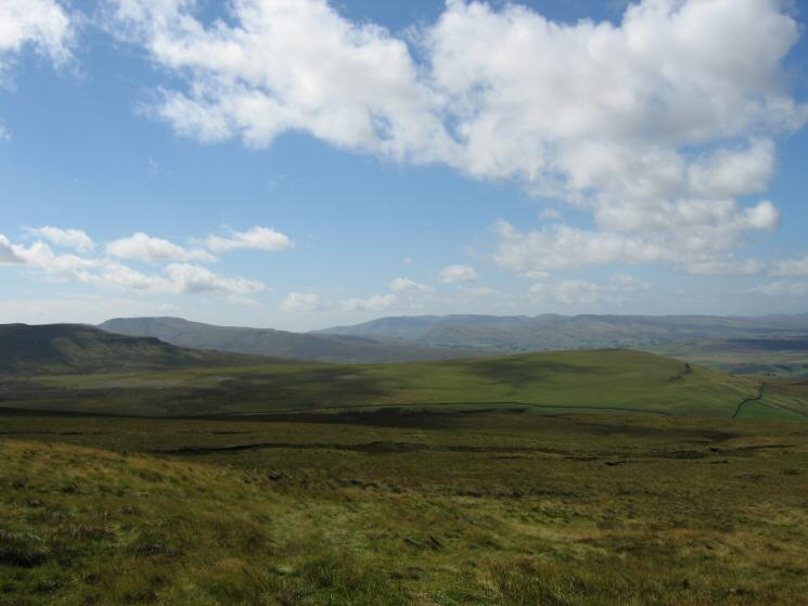 High Pike Hill, Wild Boar Fell and the Howgills with Tailbridge Hill middle right