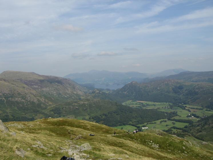 The view north from Thornythwaite Fell with Skiddaw and Derwent Water in the distance