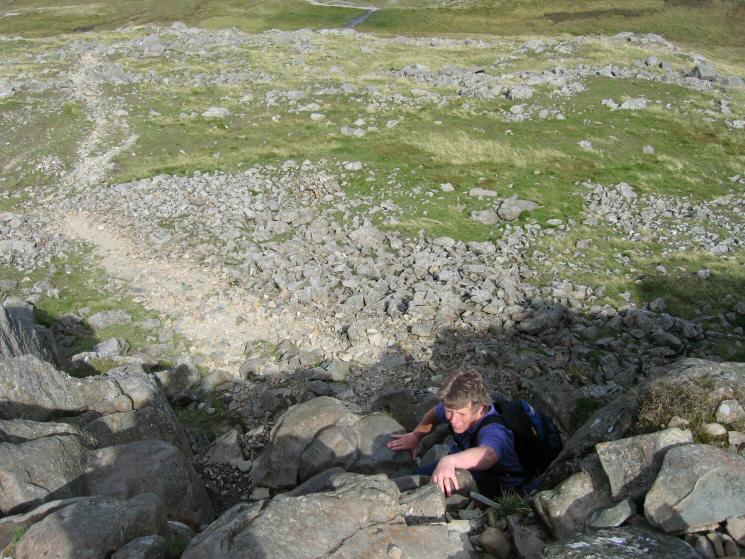 Anne ascending the short scramble onto Glaramara's summit