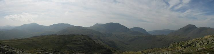 Bowfell, Esk Pike, Allen Crags, Ill Crag, Great End, Lingmell, Seatallan, Great Gable and Green Gable from Glaramara