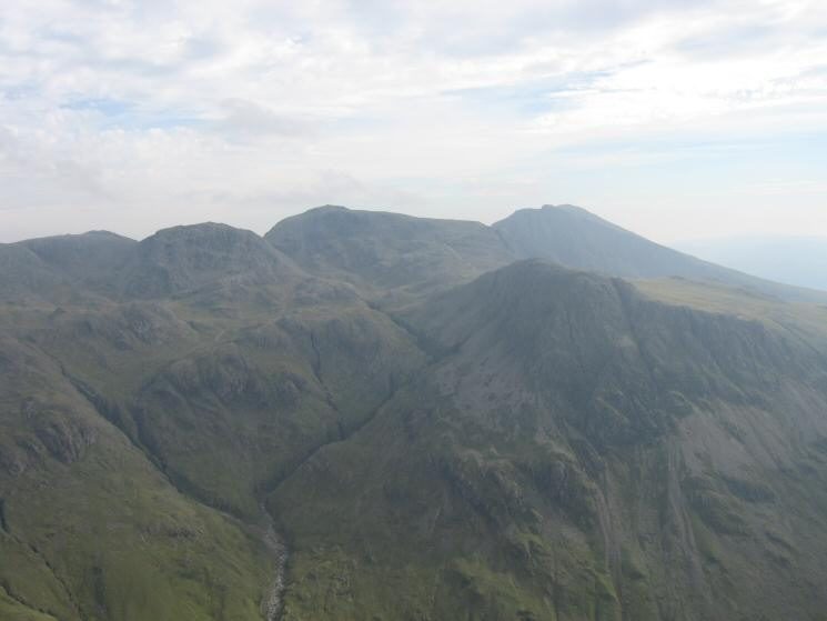 Ill Crag, Broad Crag, Scafell Pike and Scafell with Lingmell in front from Great Gable