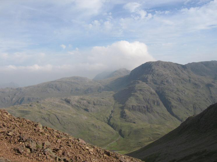 Looking across to Allen Crags and Great End from the route up Green Gable from Windy Gap