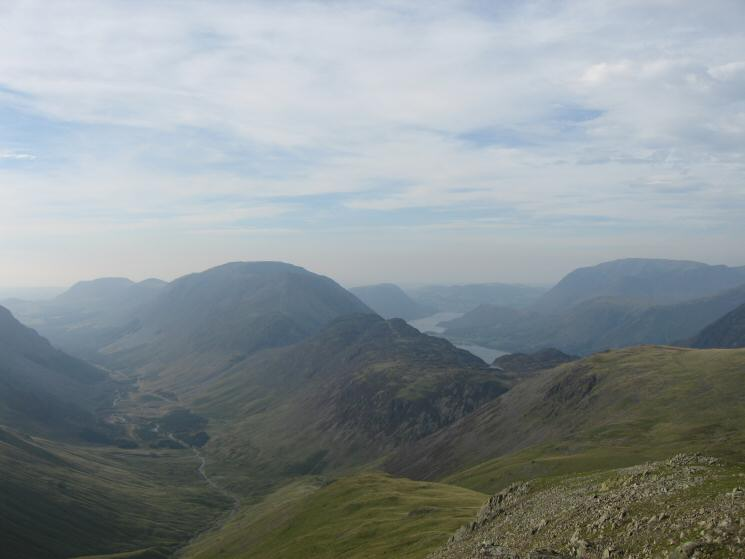Ennerdale, the High Stile ridge, Haystacks and the Buttermere valley from Green Gable's summit