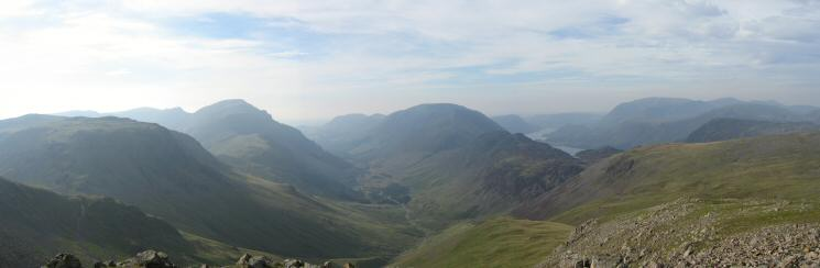 Kirk Fell to Grasmoor from Green Gable's summit