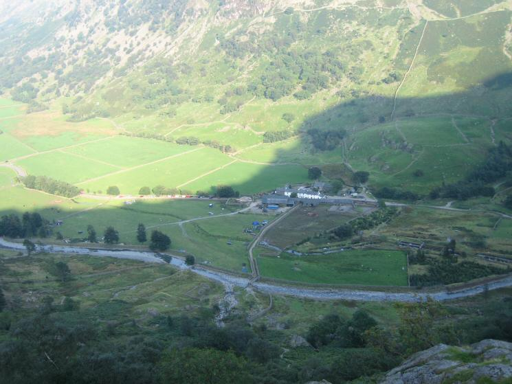 Looking down on Seathwaite from the top of Sourmilk Gill